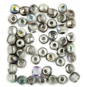 Glass Pressed Beads 2 мм Crystal Silver Rainbow