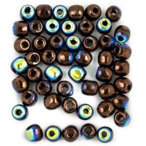 Glass Pressed Beads 2 мм Jet Bronze AB