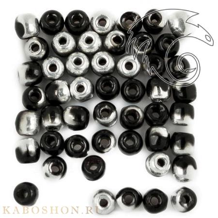 Стеклянные чешские бусины Glass Pressed Beads 2 мм Jet Labrador