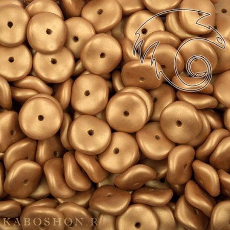 Стеклянные чешские бусины Wavelet Beads 10 мм Alabaster Metallic Gold (10 шт)