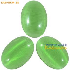 Кошачий глаз (стекло) овальный 14х10 мм травянисто-зеленый
