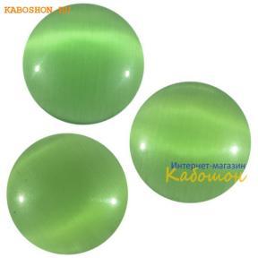 Кошачий глаз (стекло) круглый 12 мм травянисто-зеленый