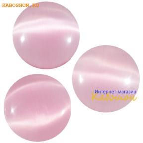 Кошачий глаз (стекло) круглый 14 мм розовый