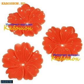 Цветок (имитация коралла) 32 мм красно-рыжий (уценка)