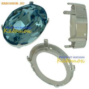 Оправа для Swarovski 4120 Oval Fancy stone 25х18 мм родий