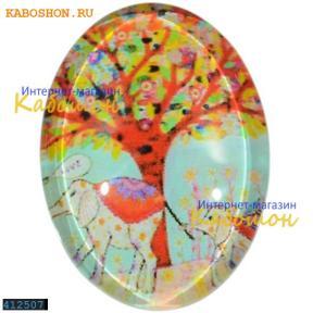 """Кабошон стеклянный с принтом-наклейкой """"Сад"""" овальный 25х18 мм"""