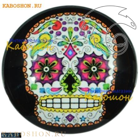 """Кабошон стеклянный с принтом-наклейкой """"Мексиканский череп"""" круг 422527"""