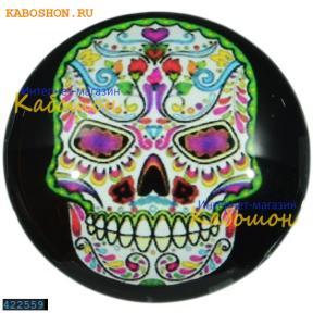 """Кабошон стеклянный с принтом-наклейкой """"Мексиканский череп"""" круг"""
