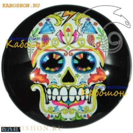 """Кабошон стеклянный с принтом-наклейкой """"Мексиканский череп"""" круг 422561"""