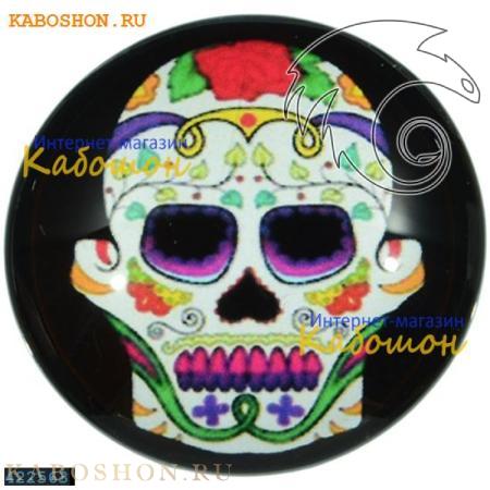"""Кабошон стеклянный с принтом-наклейкой """"Мексиканский череп"""" круг 422563"""