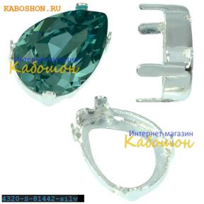 Оправа для Swarovski 4320 Pear Fancy stone 14х10 мм посеребр.