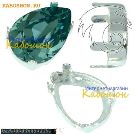 Оправа для кристаллов Swarovski (Сваровски) 4320 Pear Fancy stone 14х10 мм посеребр.