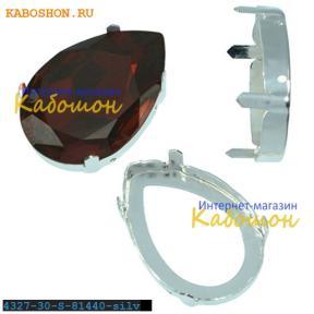 Оправа для Swarovski 4327 Pear Fancy stone 30х20 мм посеребрен.