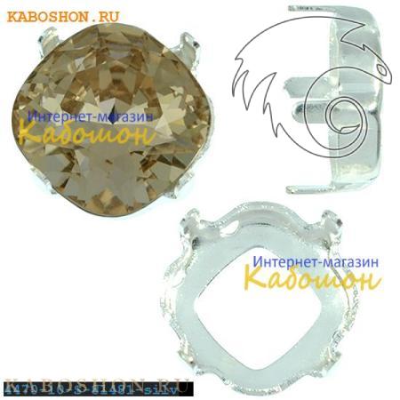 Оправа для кристаллов Swarovski (Сваровски) 4470 Cushion Cut Fancy stone 10 мм посеребр