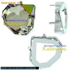 Оправа для Swarovski 4928 Tilted Chaton Fancy stone 12 мм родий