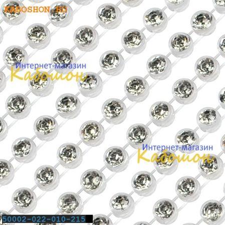 Пластиковая стразовая лента Swarovski однорядная прозрачно-белая
