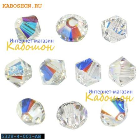 Бусина биконус Swarovski (Сваровски) Xilion beads 3 мм Crystal AB