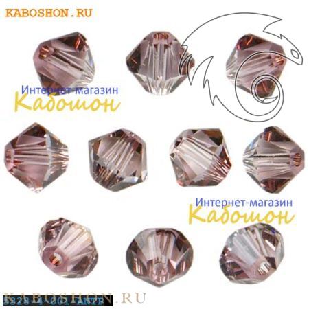 Бусина биконус Swarovski (Сваровски) Xilion beads 3 мм Crystal Antique Pink