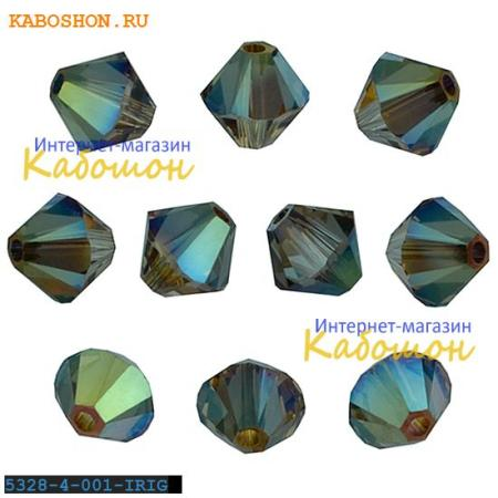 Бусина биконус Swarovski (Сваровски) Xilion beads 4 мм Crystal Iridescent Green