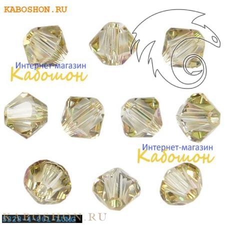 Бусина биконус Swarovski (Сваровски) Xilion beads 3 мм Crystal Luminous Green