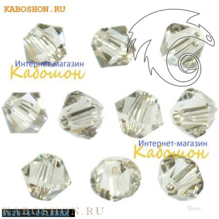 Бусина биконус Swarovski (Сваровски) Xilion beads 4 мм Crystal Silver Shade