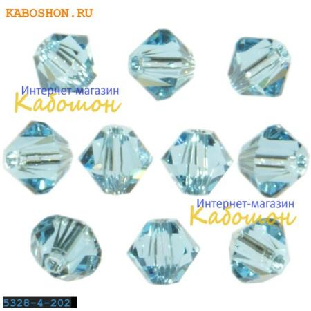 Бусина биконус Swarovski (Сваровски) Xilion beads 3 мм Aquamarine