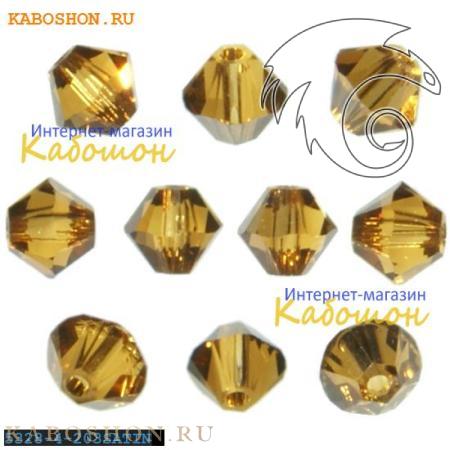 Бусина биконус Swarovski (Сваровски) Xilion beads 4 мм Topaz Satin