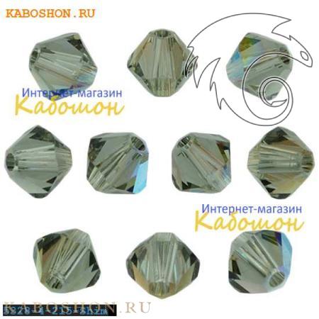 Бусина биконус Swarovski (Сваровски) Xilion beads 4 мм Black Diamond Shimmer