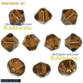 Бусина биконус Swarovski (Сваровски) Xilion beads 3 мм Smoked Topaz