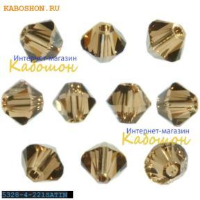 Swarovski Xilion beads 4 мм Light Smoked Topaz Satin