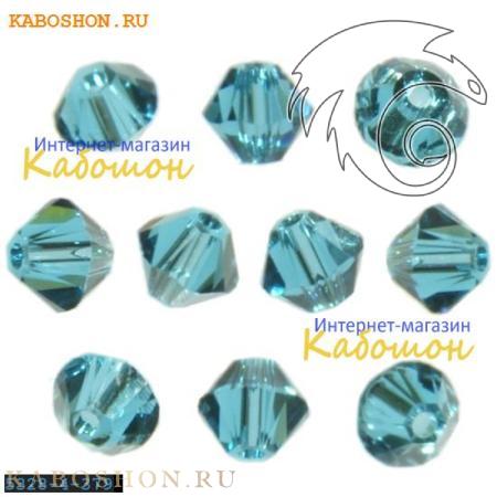 Бусина биконус Swarovski (Сваровски) Xilion beads 4 мм Indicolite