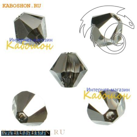 Бусина биконус Swarovski (Сваровски) Xilion beads 5 мм Crystal Silver Night