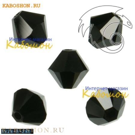 Бусина биконус Swarovski (Сваровски) Xilion beads 5 мм Jet