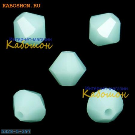 Бусина биконус Swarovski (Сваровски) Xilion beads 5 мм Mint Alabaster