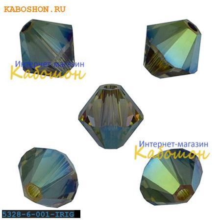 Swarovski Xilion beads 6 мм Crystal Iridescent Green