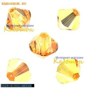 Swarovski Xilion beads 6 мм Crystal Metallic Sunshine
