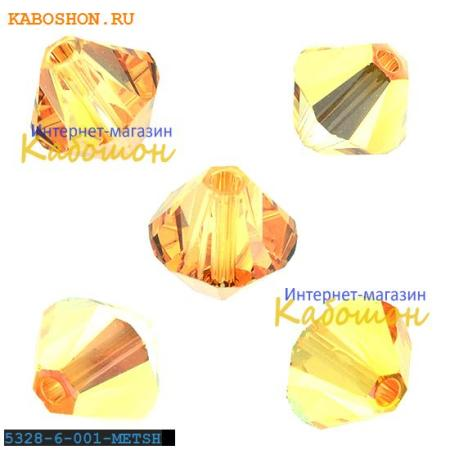 Бусина биконус Swarovski (Сваровски) Xilion beads 6 мм Crystal Metallic Sunshine