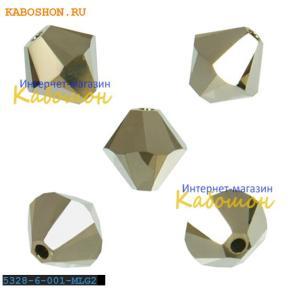 Swarovski Xilion beads 6 мм Crystal Metallic Light Gold 2x