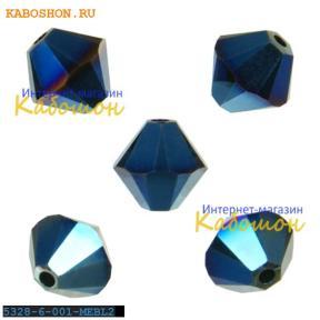 Swarovski Xilion beads 6 мм Crystal Metallic Blue 2x