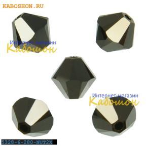Swarovski Xilion beads 6 мм Jet Nut 2x