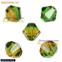 Swarovski Xilion beads 6 мм Fern Green-Topaz Blend