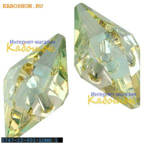 Swarovski Double Spike Bead 12 мм Crystal Luminous Green
