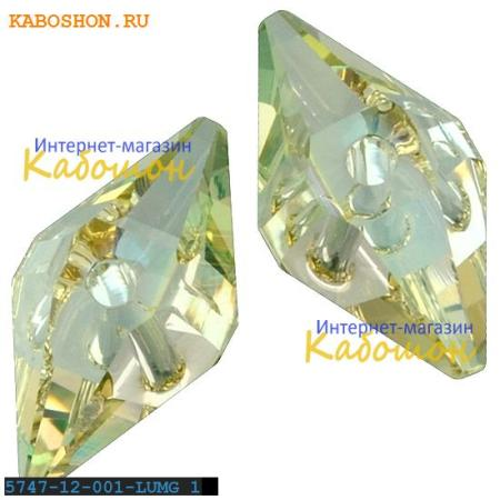 Бусина Swarovski (Сваровски) Double Spike Bead 12 мм Crystal Luminous Green