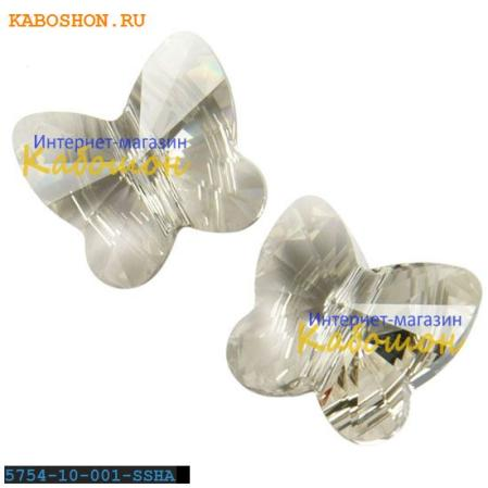 Swarovski Butterfly Bead 10 мм Crystal Silver Shade