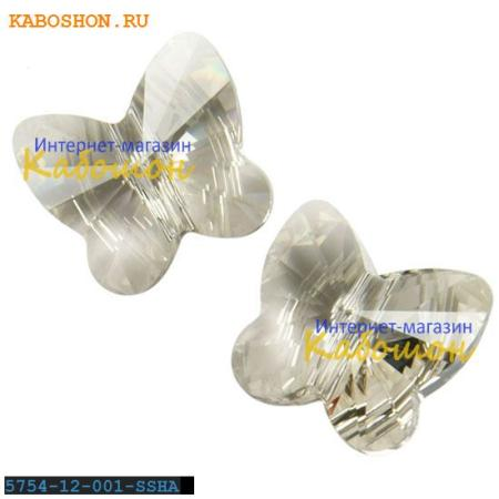 Бусина Swarovski (Сваровски) Butterfly Bead 12 мм Crystal Silver Shade