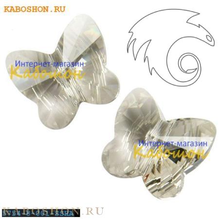 Бусина Swarovski (Сваровски) Butterfly Bead 8 мм Crystal Silver Shade