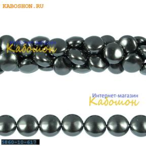 Жемчуг Swarovski 10х6 мм Crystal Dark Grey