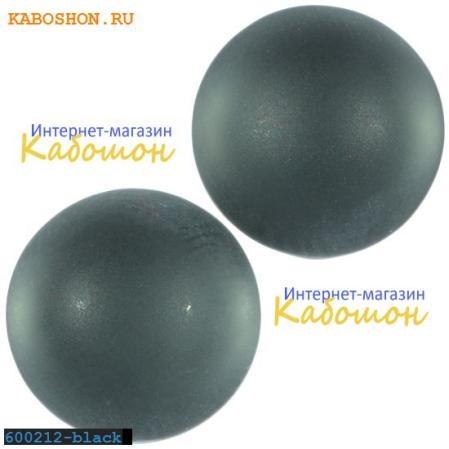 Кабошон круглый матовый черный 16 мм