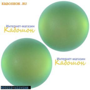 Кабошон круглый матовый оливковый 16 мм