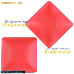 Кабошон квадратный матовый красно-розовый 25х7 мм
